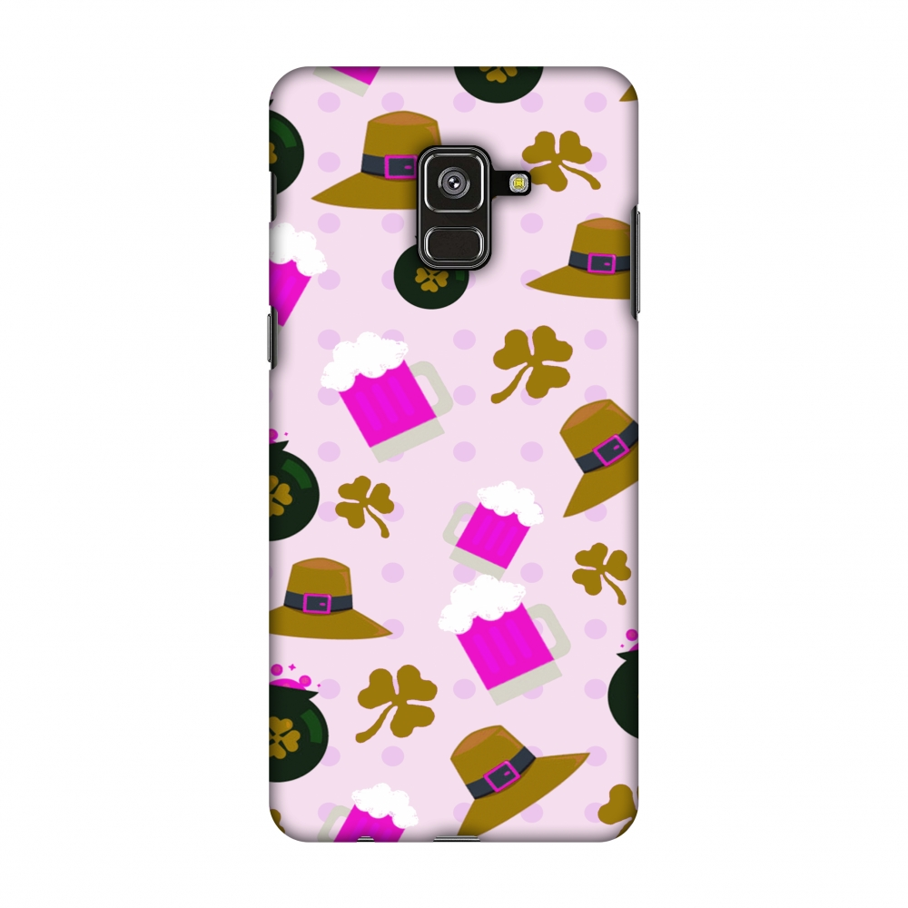 Samsung Galaxy A8 Plus 2018 Case - Shamrock, hats, beer and potluck - Olive, Hard Plastic Back Cover, Slim Profile Cute Printed Designer Snap on Case with Screen Cleaning Kit