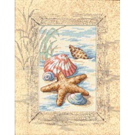 Dimensions Matted Accents Shells In The Sand Counted Cross Stitch Kit, 8