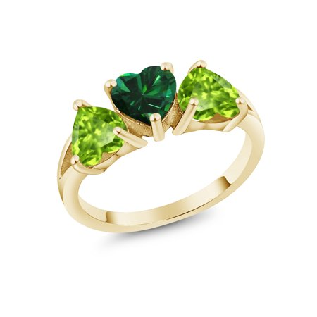 - 2.18 Ct Green Simulated Emerald Green Peridot 18K Yellow Gold Plated Silver Ring