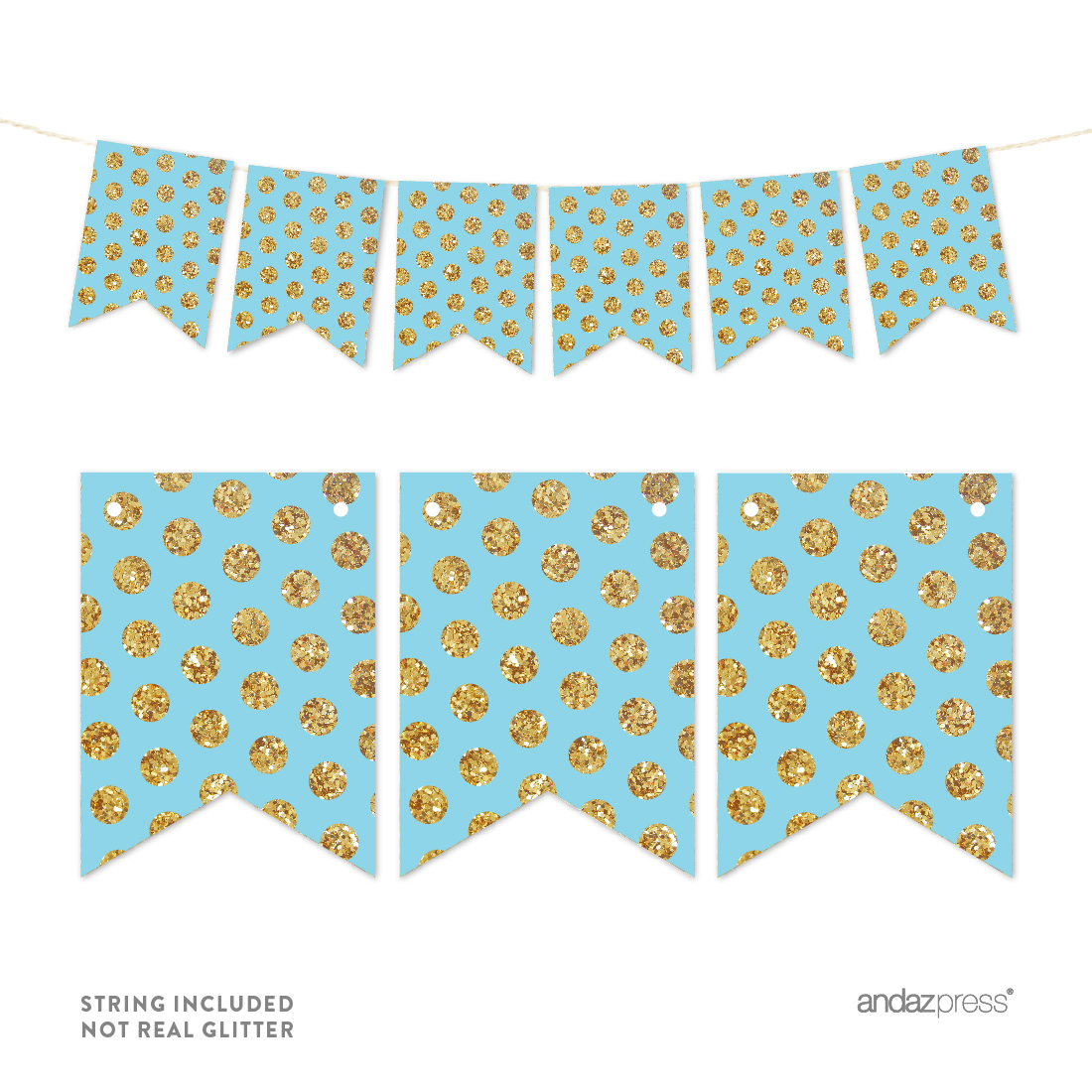 Baby Blue Pennant Party Banner Gold Glitter Polka Dots