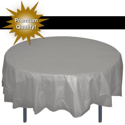 Exquisite 12 Pack Premium Silver Plastic Tablecloth, 84 Inch Round