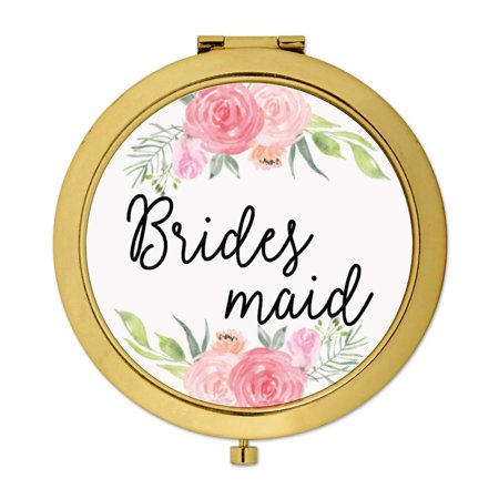Andaz Press Compact Mirror Bridesmaid Wedding Gift, Gold, Peach and Pink Roses, (Mirror Perch)