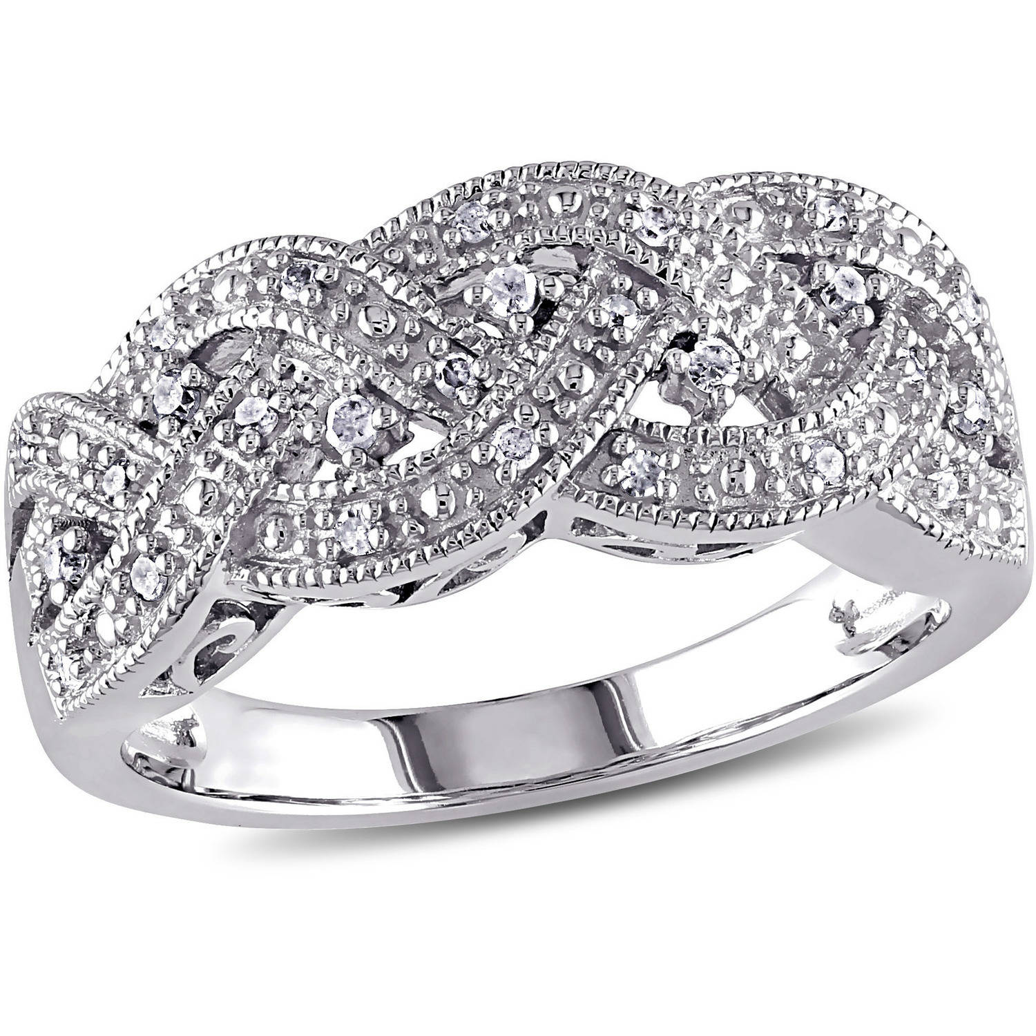 8 Carat Tw Diamond Sterling Silver Braid Ring  Walmart