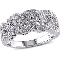 Miabella 1/8 Carat T.W. Diamond Sterling Silver Braided Ring
