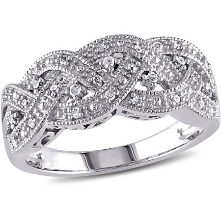 1/8 Carat T.W. Diamond Sterling Silver Braided Ring](Toy Diamond Rings Bulk)