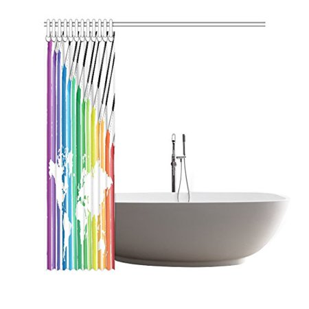 POP Brushes Colorful World Map Shower Curtain Decor 66x72 inch - image 2 de 3