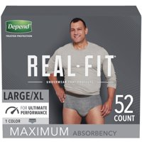 Depend Real Fit Incontinence Underwear for Men, Maximum Absorbency, Large/Extra-Large, Grey, 52 Count