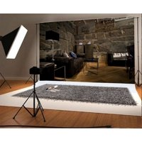 GreenDecor Polyster 7x5ft Interior Backdrop Weathered Stone Brick Wall Sofa Table Lamps Rustic Wood Floor European Archiculture Photography Background Kids Adults Photo Studio Props