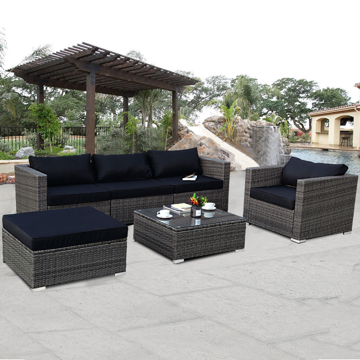 Costway 6-piece Rattan Wicker Patio Furniture Set Sectional Sofa Couch Yard W/Black Cushion