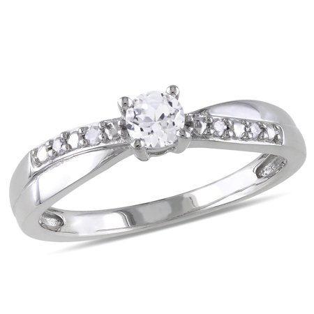 Sterling Silver 1/3ct TGW White Round-cut Sapphire and Diamond Accent Promise Ring