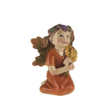 Fall Garden Fantasy Fairy Figure With Orange Dress Holding Harvest Wheat - By Ganz