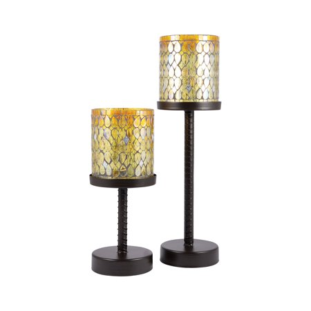 Pomeroy Glass And Metal Candle Holder Set Of 2 In Amber Shimmer Mosaic 439353