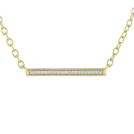 Diamond Accent Bar Necklace Sterling Silver 14kt Gold Flash - Gold Flash Plating