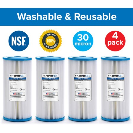 4 Pack SPC-45-1030 R30-BB RS6 Compatible Whole House Sediment Pleated Water Filter Washable Reusable 4.5 x 10, 30 (Reusable Pleated Filter)