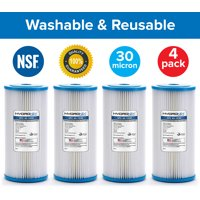 4 Pack SPC-45-1030 R30-BB RS6 Compatible Whole House Sediment Pleated Water Filter Washable Reusable 4.5 x 10, 30 micron