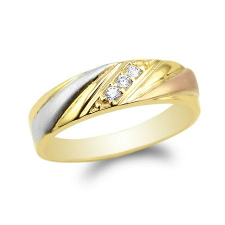 Womens 14K Yellow Gold Three Tone Pattern Wedding Band Ring Size 4-10 ()