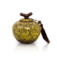 Ceramic Keepsake Urns - Extra Small 20 Pounds - Autumn Yellow Branch - Engraving Sold Separately