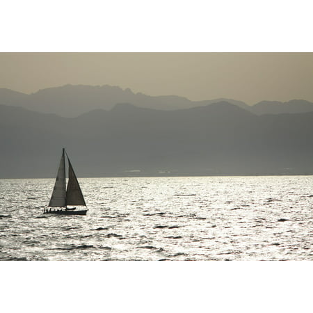 Framed Art For Your Wall Sunset Sea Sailboats Sardinia Quiet 10x13 - Sailboat Supplies