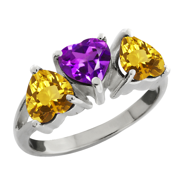 2.18 Ct Heart Shape Purple Amethyst and Yellow Citrine Sterling Silver Ring