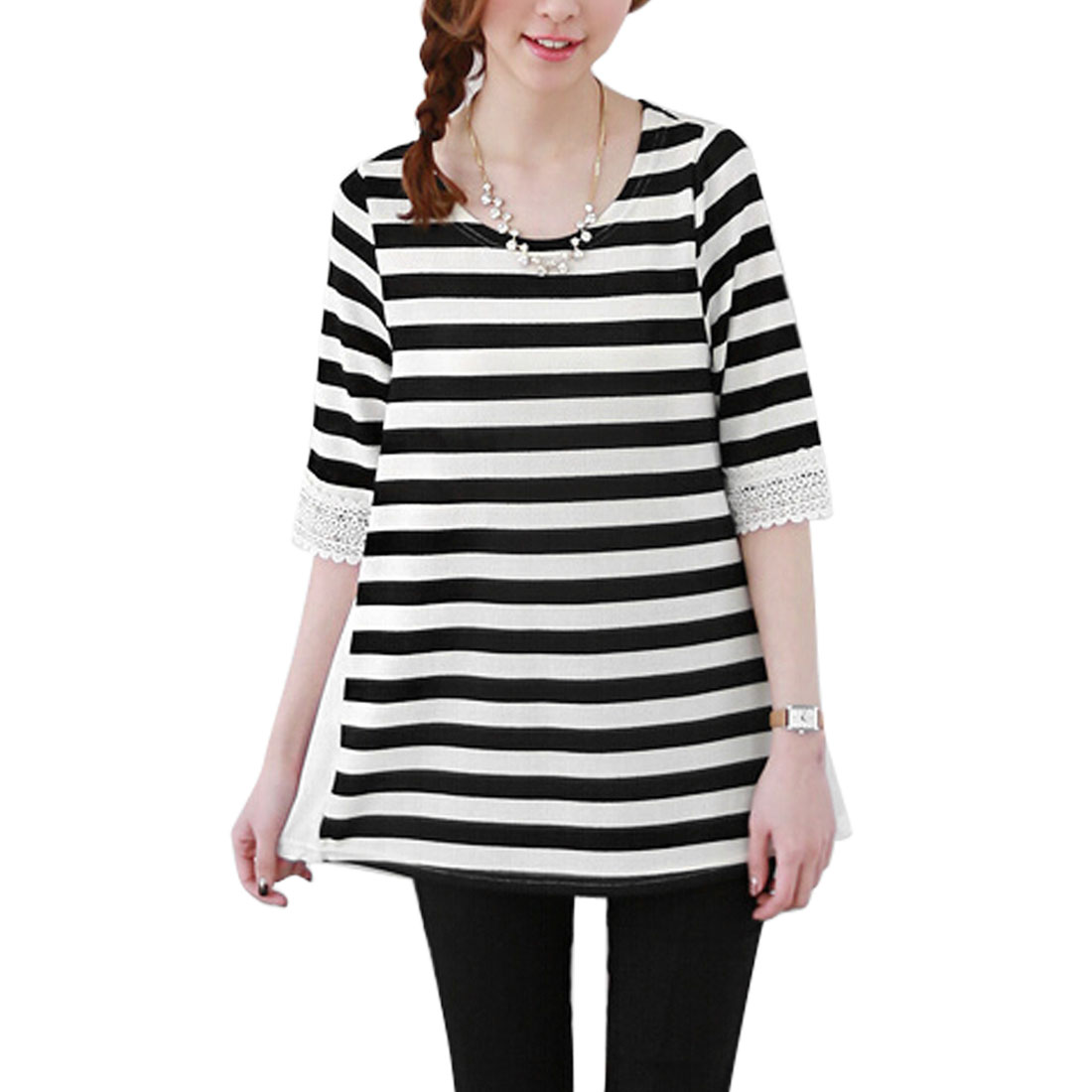 Women's Round Neck Elbow Sleeves Stripes Panel Design Tunic Tops Black White XS