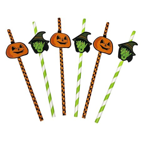 50 Pack - Halloween Themed Recyclable Paper Party Straws with Jack-O-Lantern and Witch Designs - Orange, Green, and Black Colors](Halloween Party Theme Titles)