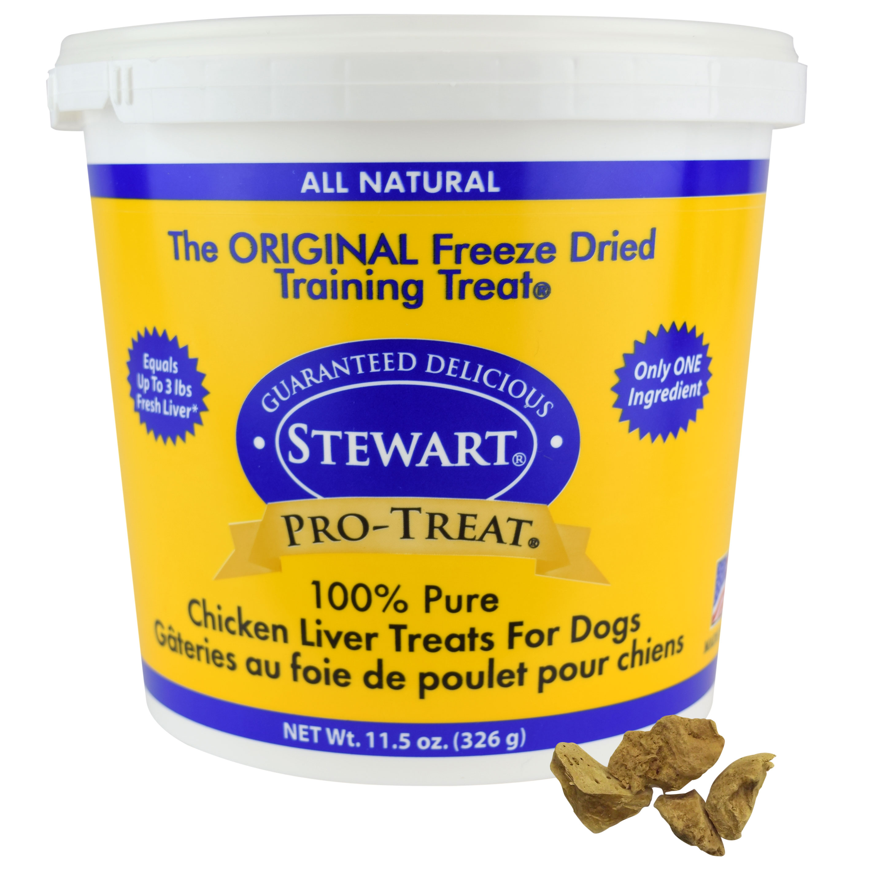 Stewart Freeze Dried Chicken Liver by Pro-Treat, 11.5 oz. Tub