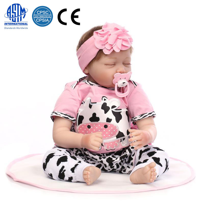 Zimtown 22inch Reborn Toddler Dolls Handmade Lifelike Baby Solid Silicone Vinyl and Cotton Body Girl Doll Cow Pattern Clothes