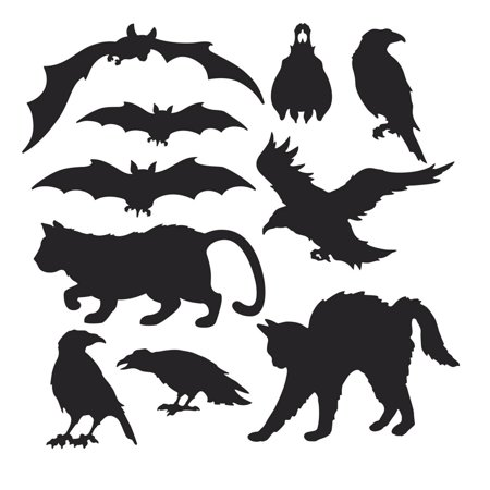 Club Pack of 120 Black Cats, Bats, and Birds Halloween Silhouettes Cutout Decorations
