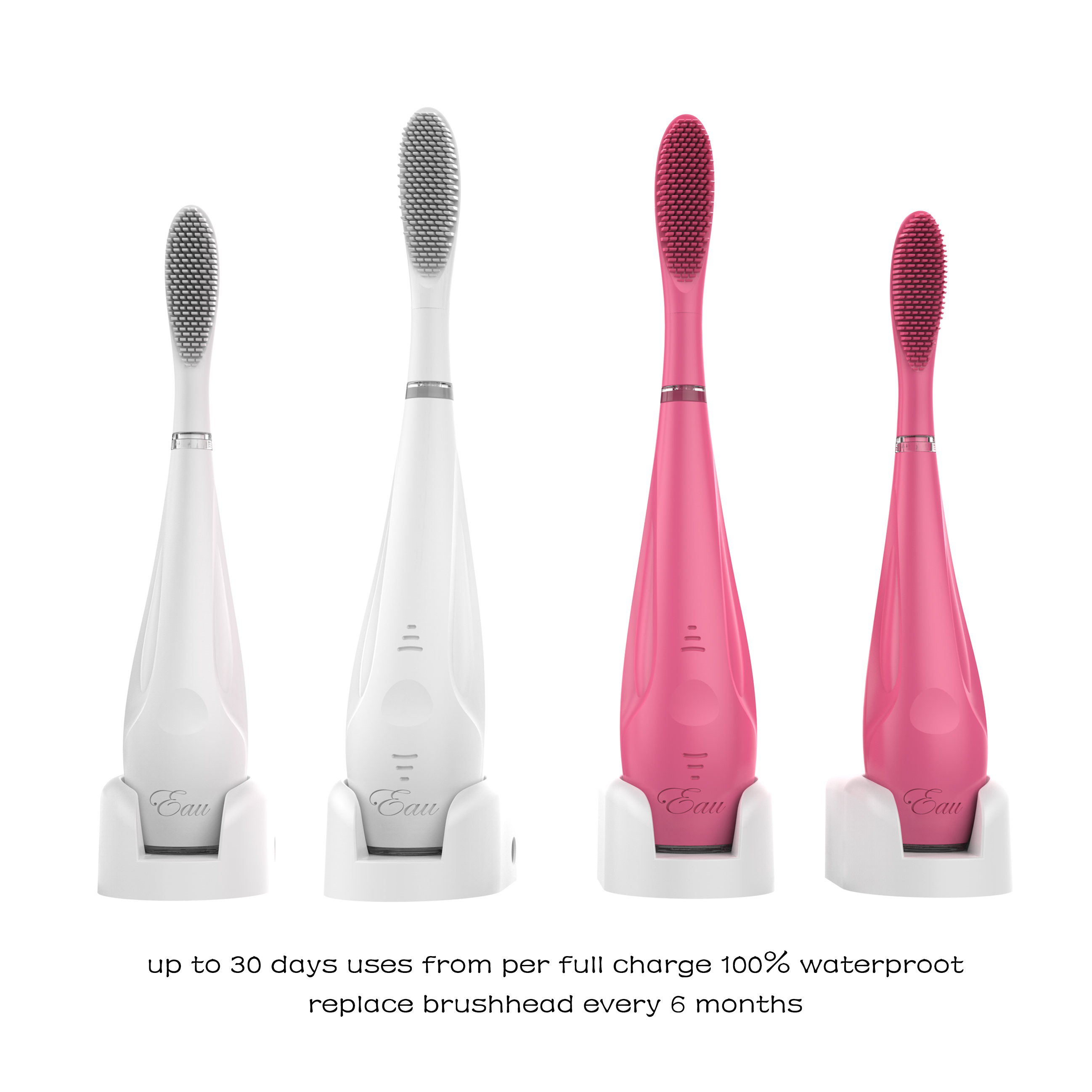 "Newbee_ ""Eau"" Tiko Hybrid Elictric Smart Silicone Toothbrush, Kids, Adult & Family"