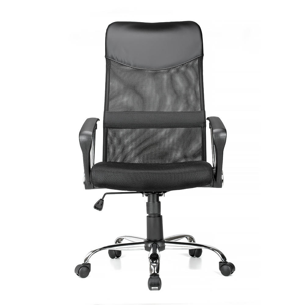 Adjustable mesh office chair with fixed arms high back black moustache 1 pack