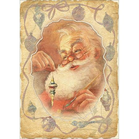 LPG Greetings Santa Holding Ornament Die Cut Window with Glitter Box of 12 Laurie Cook Christmas (12 Die Cut Window)