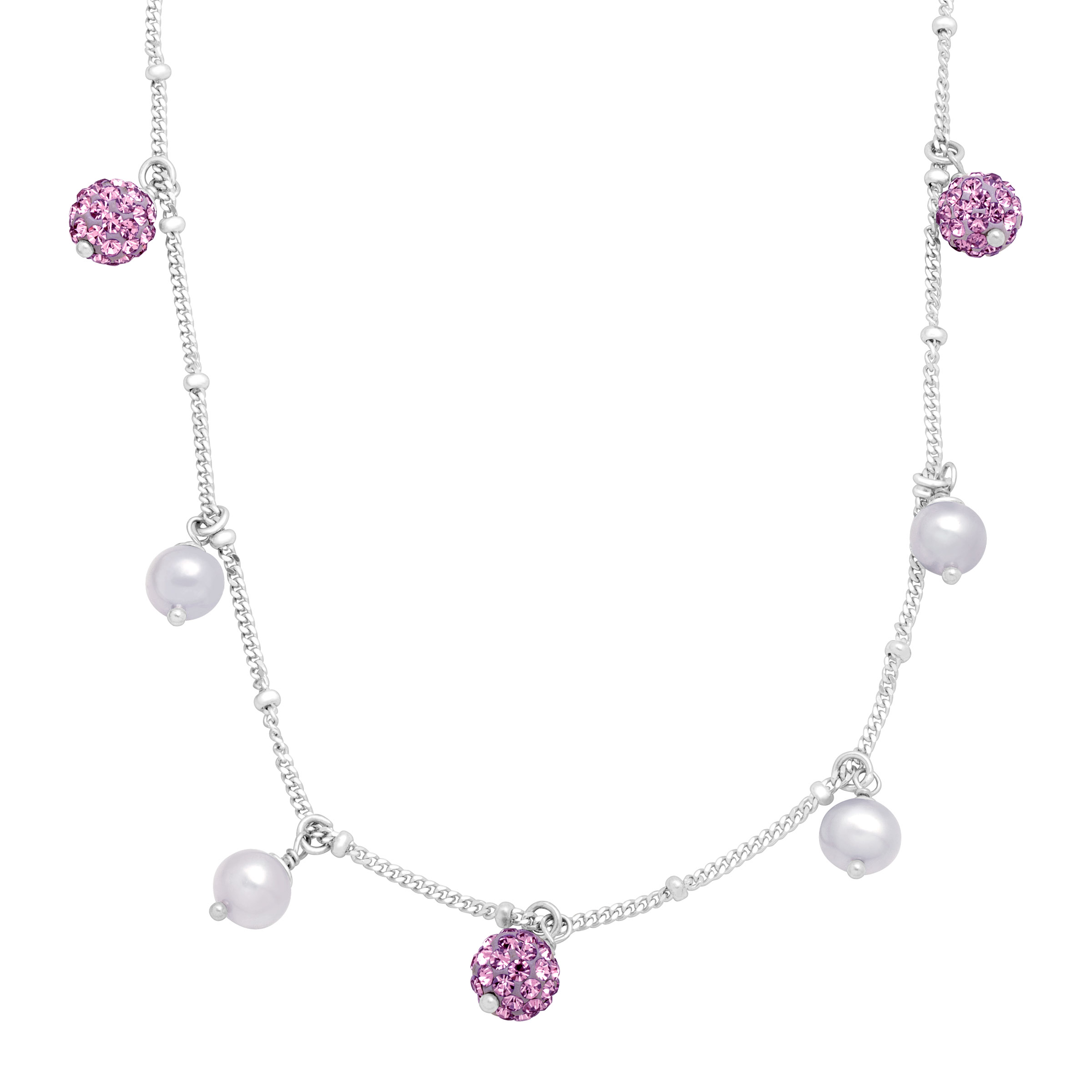 Luminesse Girl's Lilac Freshwater Pearl Necklace with Purple Swarovski Crystals in Sterling Silver
