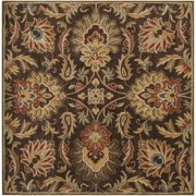 Hand-tufted Grand Chocolate Brown Floral Wool Area Rug (8' x 8')