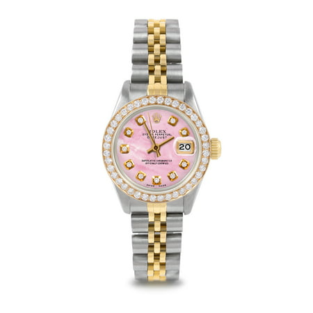 Pre Owned Rolex Datejust 6917 w/ Pink Mother Of Pearl Diamond Dial 26mm Ladies Watch (Warranty Included)