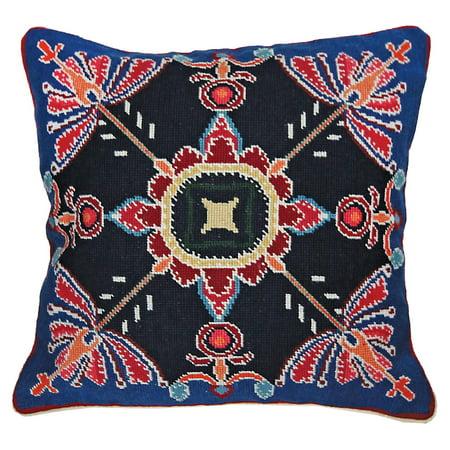 Throw Pillow VIRGINIA Chinese Needlepoint Oriental 18x18 Bright Orange Re (Chinese Needlepoint)