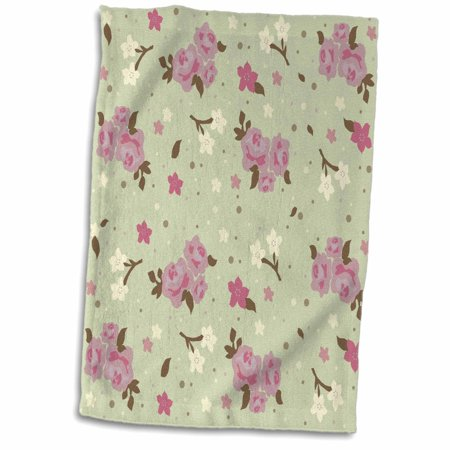 3dRose Shabby Chic Pink Roses on cream green - pretty floral pattern - flowery flower gifts for girly girls - Towel, 15 by 22-inch ()