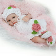 Reborn Baby Doll Girl Baby Bath Toy Full Silicone Body Eye Open Baby doll With Clothes 10inch 25cm Lifelike Cute Gifts Toy Flower Knitwear