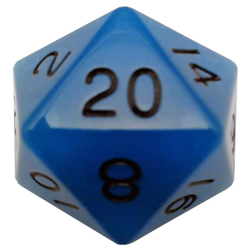 Blue Glow In The Dark Acrylic Die with Black Numbers D20 35mm (1.38in) Pack of 1 Metallic Dice Games