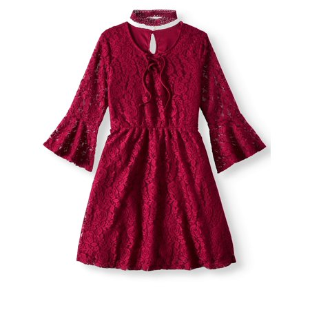 Lace Bell Sleeve Dress with Chocker (Big Girls)