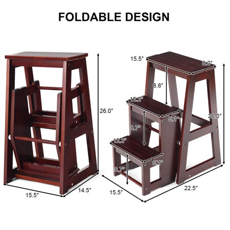 Costway Wood Step Stool Folding 3 Tier Ladder Chair Bench Seat Utility - image 9 of 10
