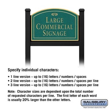 Salsbury 1522JGF1 1 Sided Arched Black Post Commercial Sign with Gold Characters, Jade Green Sign - Fountain