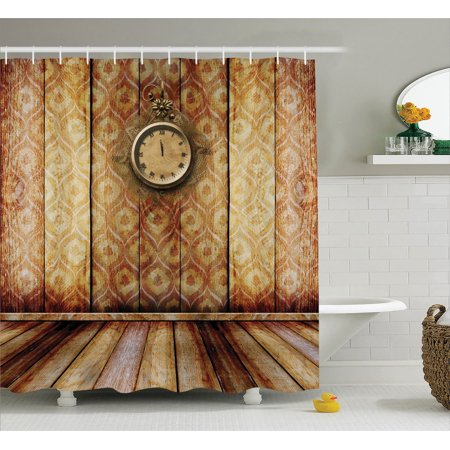 Victorian Decor Antique Clock On Medieval Style Wall Wooden Floor Classic Architecture Theme Art, Bathroom Accessories, 69W X 84L Inches Extra Long, By