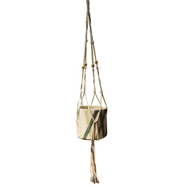 Benzara BM161715 6.75 x 7 x 7 in. Splendeid Macram Hanging Ceramic Planter, Multicolor - image 1 of 1