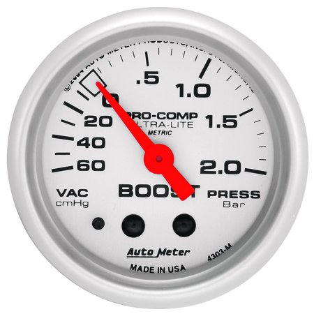 AutoMeter 4303-M Ultra-Lite Mechanical Boost/Vacuum Gauge; 2-1/16 in.; Silver Dial Face; Fluorescent Red Pointer; White Incandescent Lighting; Mechanical; 60 CM/HG-2.0 BARS;