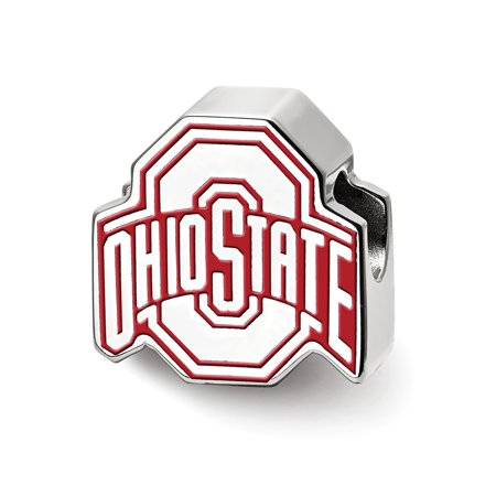 Mia Diamonds Sterling Silver LogoArt The Ohio State University Block O Enam Extruded Logo Bead Charm for Charm Bracelet