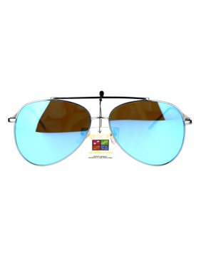 0feec129370 Product Image Luxury Reflective Flat Color Mirror Lens Metal Rim Aviator  Sunglasses Gunmetal Blue