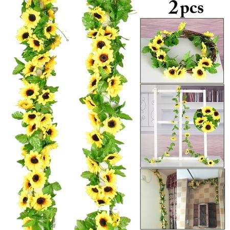 Sunflower Party Supplies (2PCS 8.53ft Artificial Silk Sunflower Garland, Justdolife Artificial Fake Plant Hanging Flower Vine DIY Arrangements for Wedding Engagement Party Home)