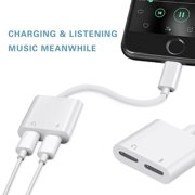 Charge And Headphone 2 in 1 Adapter For Iphone 7/7 plus, Dual Lightning Splitter Cable for iphone 7/7 Plus,Support Audio/Charging/Volume Control/Call Support IOS 10.3+