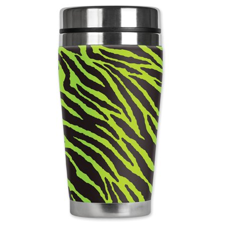 Mugzie brand 16-Ounce Stainless Steel Travel Mug with Insulated Wetsuit Cover - Green (Black Light Covers Stainless Accessories)