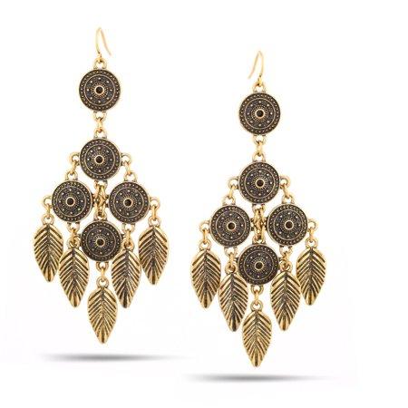 TAZZA WOMEN'S OXIDIZED ANTIQUE VINTAGE LOOK BOHO STYLE GOLD CHANDELIER DROP EARRING (Antique Chandelier Earrings)